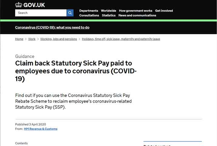 HMRC publishes guide to SSP and COVID-19